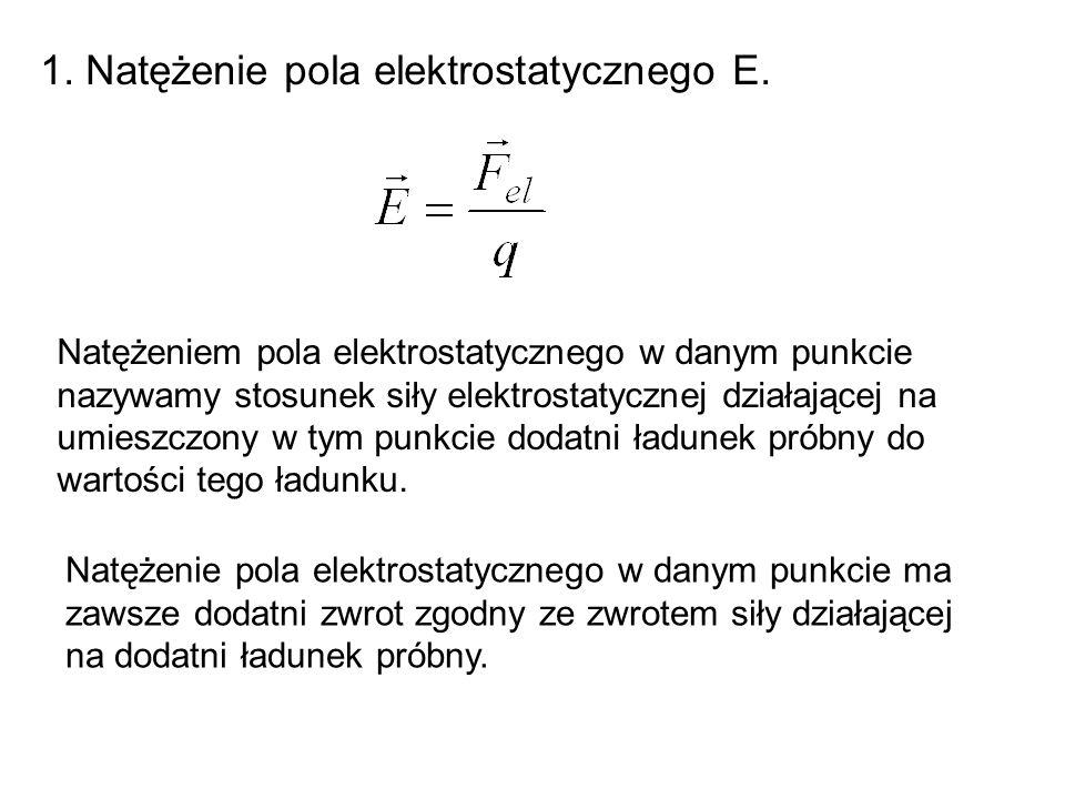 1. Natężenie pola elektrostatycznego E. Natężeniem pola elektrostatycznego w danym punkcie nazywamy stosunek siły elektrostatycznej działającej na umi