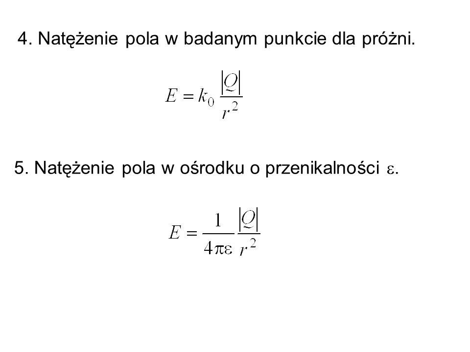 4. Natężenie pola w badanym punkcie dla próżni. 5. Natężenie pola w ośrodku o przenikalności .