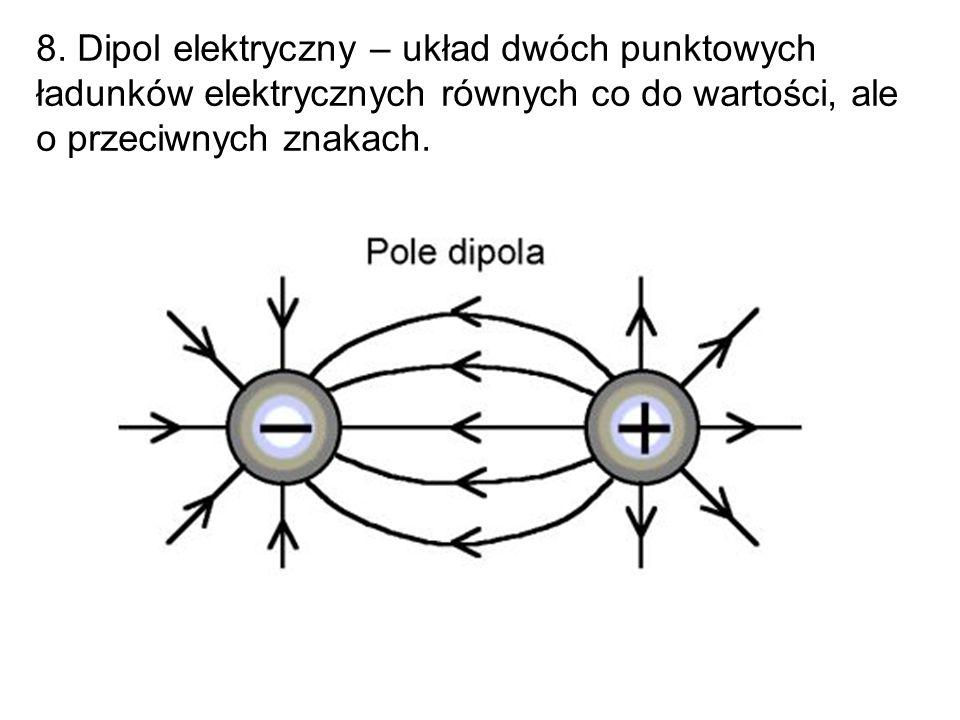 8. Dipol elektryczny – układ dwóch punktowych ładunków elektrycznych równych co do wartości, ale o przeciwnych znakach.