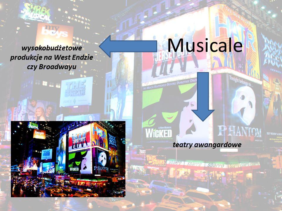 teatry awangardowe Musicale wysokobudżetowe produkcje na West Endzie czy Broadwayu