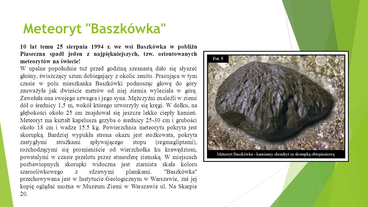 Meteoryt Baszkówka 10 lat temu 25 sierpnia 1994 r.