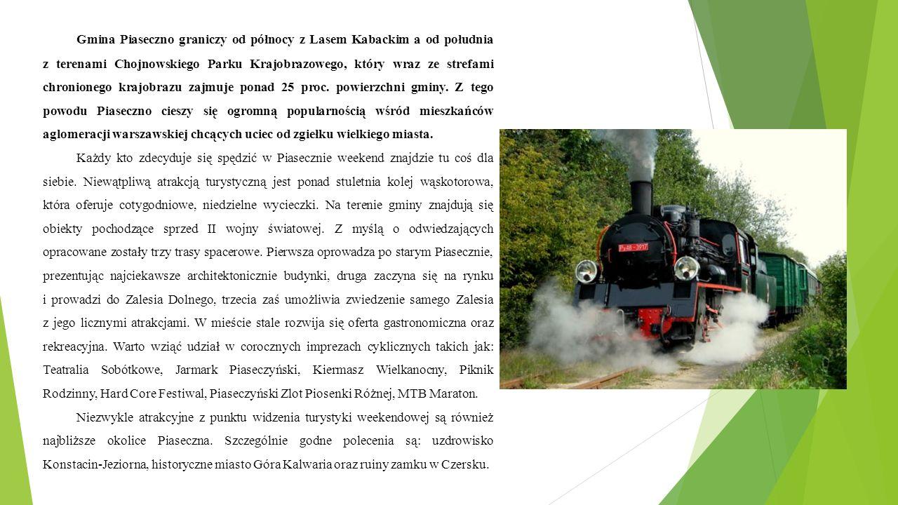 Gmina Piaseczno graniczy od północy z Lasem Kabackim a od południa z terenami Chojnowskiego Parku Krajobrazowego, który wraz ze strefami chronionego krajobrazu zajmuje ponad 25 proc.