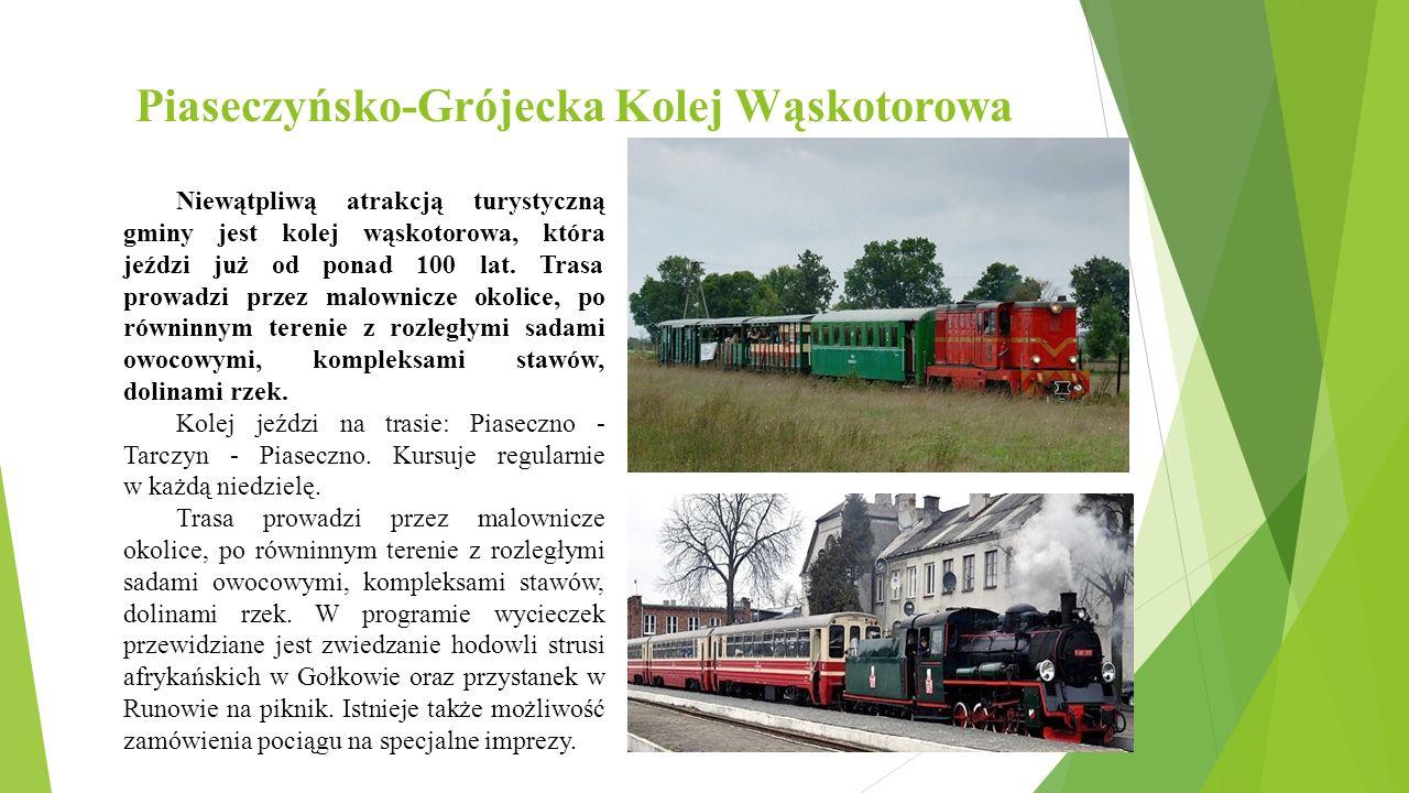 Piaseczyńsko-Grójecka Kolej Wąskotorowa Niewątpliwą atrakcją turystyczną gminy jest kolej wąskotorowa, która jeździ już od ponad 100 lat.