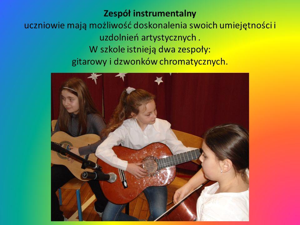 Zespół instrumentalny uczniowie mają możliwość doskonalenia swoich umiejętności i uzdolnień artystycznych. W szkole istnieją dwa zespoły: gitarowy i d