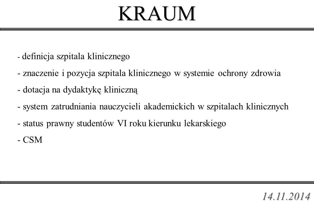 KRAUM - definicja szpitala klinicznego - znaczenie i pozycja szpitala klinicznego w systemie ochrony zdrowia - dotacja na dydaktykę kliniczną - system zatrudniania nauczycieli akademickich w szpitalach klinicznych - status prawny studentów VI roku kierunku lekarskiego - CSM 14.11.2014