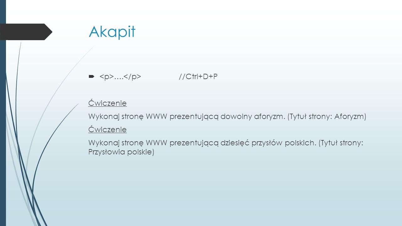 Akapit  …. //Ctrl+D+P Ćwiczenie Wykonaj stronę WWW prezentującą dowolny aforyzm. (Tytuł strony: Aforyzm) Ćwiczenie Wykonaj stronę WWW prezentującą dz