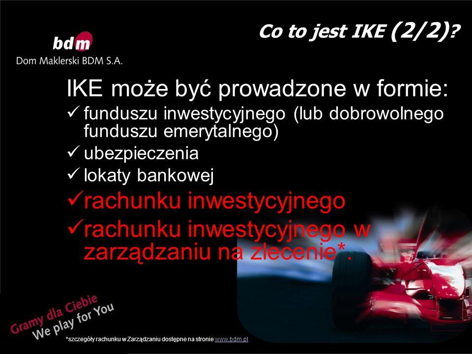 Ważne pojęcia dotyczące IKE które należy znać Wypłata – jednorazowa wypłata środków bez podatku (po spełnieniu warunków Ustawy o IKE) Wypłata w ratach – wypłata w ratach bez podatku (po spełnieniu warunków Ustawy o IKE) Wypłata transferowa – przeniesienie środków zgromadzonych na IKE do innej instytucji finansowej lub do programu emerytalnego Zwrot – wycofanie całości środków zgromadzonych na IKE, gdy nie spełnione są warunki zwolnienia podatkowego (z wypłaty zostanie potrącony podatek) Częściowy zwrot – wycofanie części środków zgromadzonych na IKE, gdy nie spełnione są warunki zwolnienia podatkowego (z wypłaty zostanie potrącony podatek) – w tym wypadku maksymalnie można wypłacić kwotę równą sumie dokonanych wpłat (a zysk musi pozostać na rachunku)