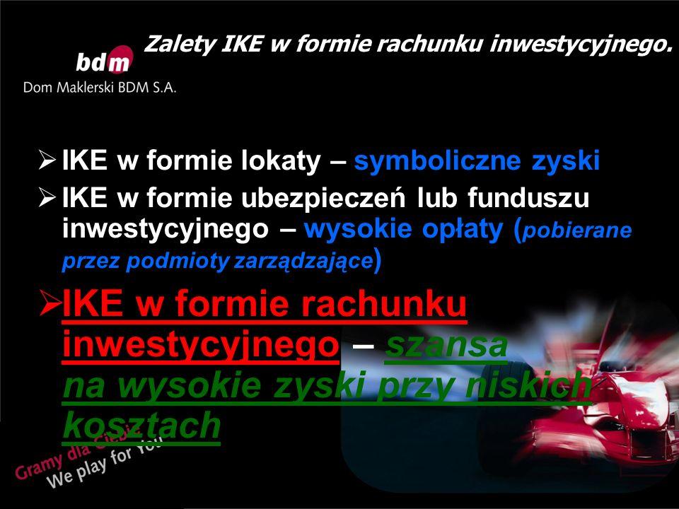 Zalety IKE w formie rachunku inwestycyjnego.