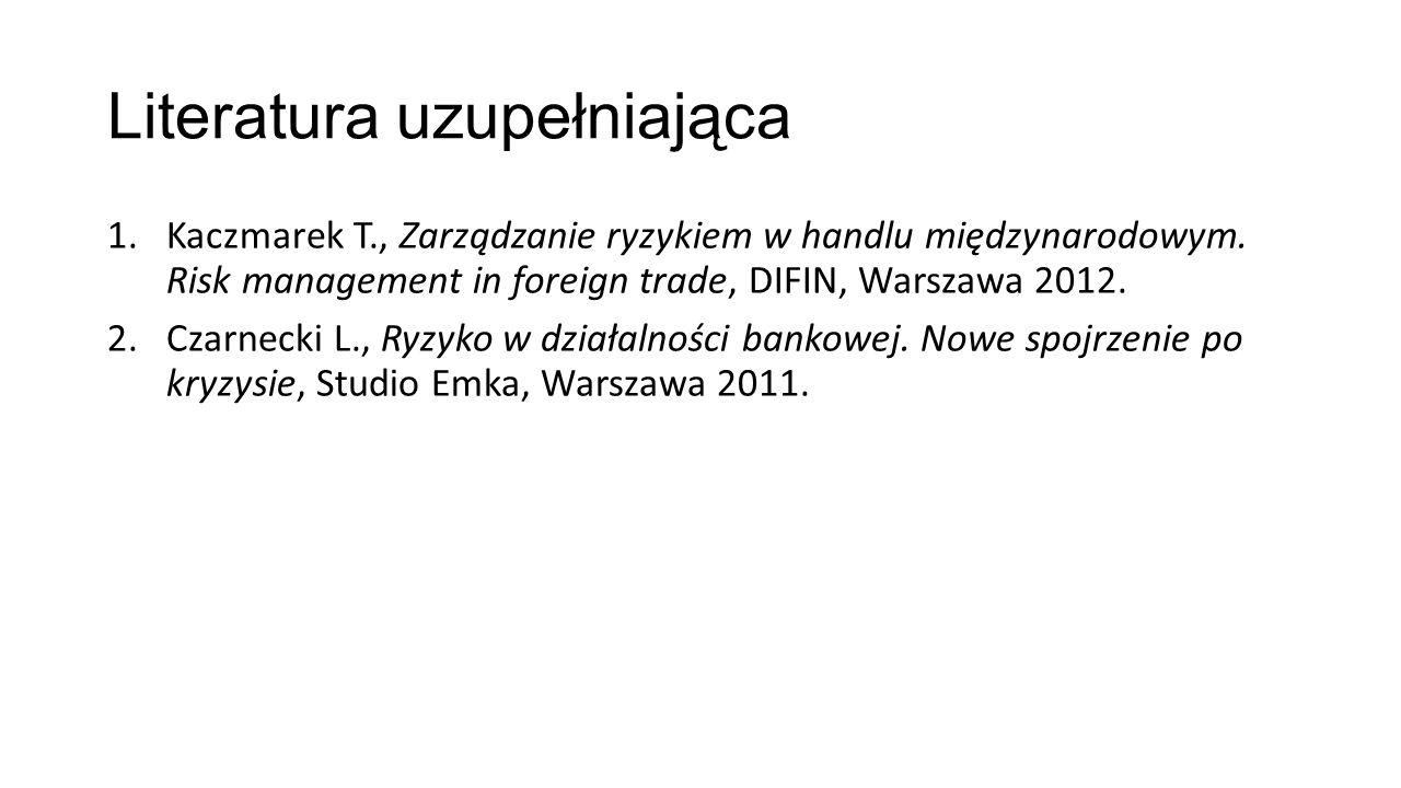 Literatura uzupełniająca 1.Kaczmarek T., Zarządzanie ryzykiem w handlu międzynarodowym.