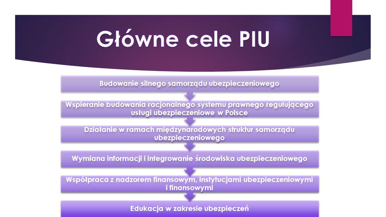 Edukacja w zakresie ubezpieczeń Współpraca z nadzorem finansowym, instytucjami ubezpieczeniowymi i finansowymi Wymiana informacji i integrowanie środowiska ubezpieczeniowego Działanie w ramach międzynarodowych struktur samorządu ubezpieczeniowego Wspieranie budowania racjonalnego systemu prawnego regulującego usługi ubezpieczeniowe w Polsce Budowanie silnego samorządu ubezpieczeniowego