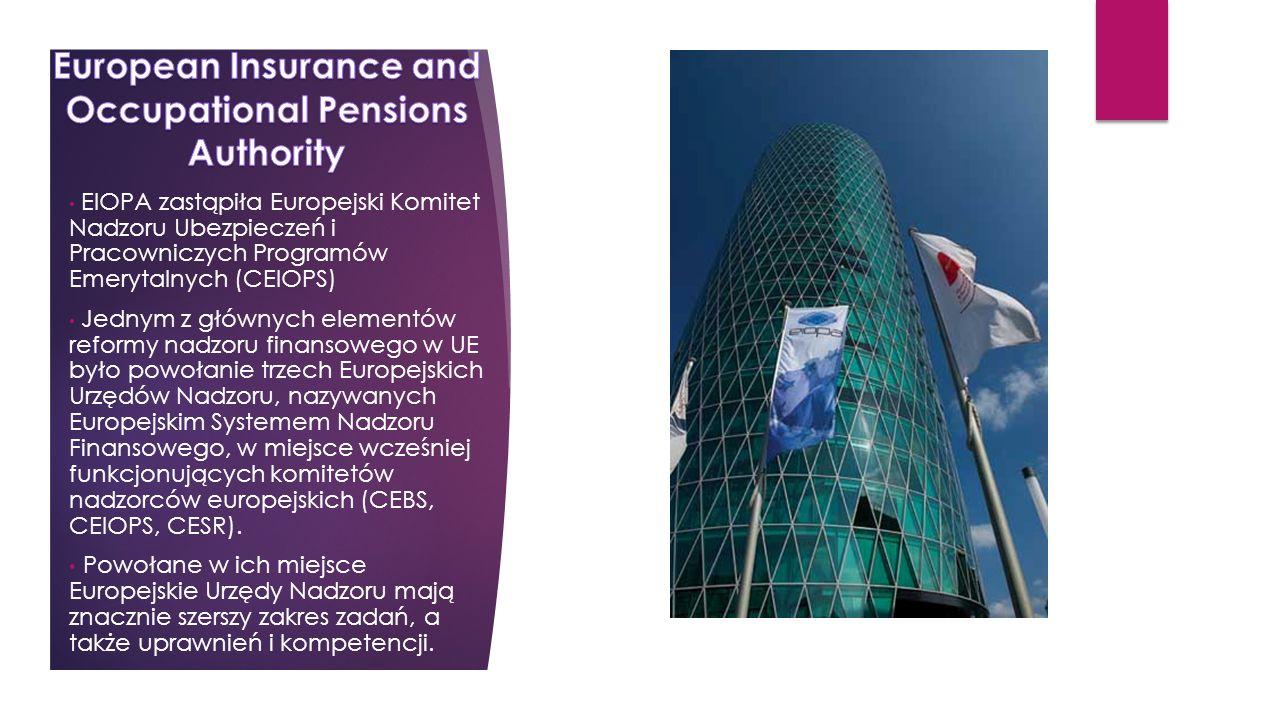EIOPA zastąpiła Europejski Komitet Nadzoru Ubezpieczeń i Pracowniczych Programów Emerytalnych (CEIOPS) Jednym z głównych elementów reformy nadzoru finansowego w UE było powołanie trzech Europejskich Urzędów Nadzoru, nazywanych Europejskim Systemem Nadzoru Finansowego, w miejsce wcześniej funkcjonujących komitetów nadzorców europejskich (CEBS, CEIOPS, CESR).
