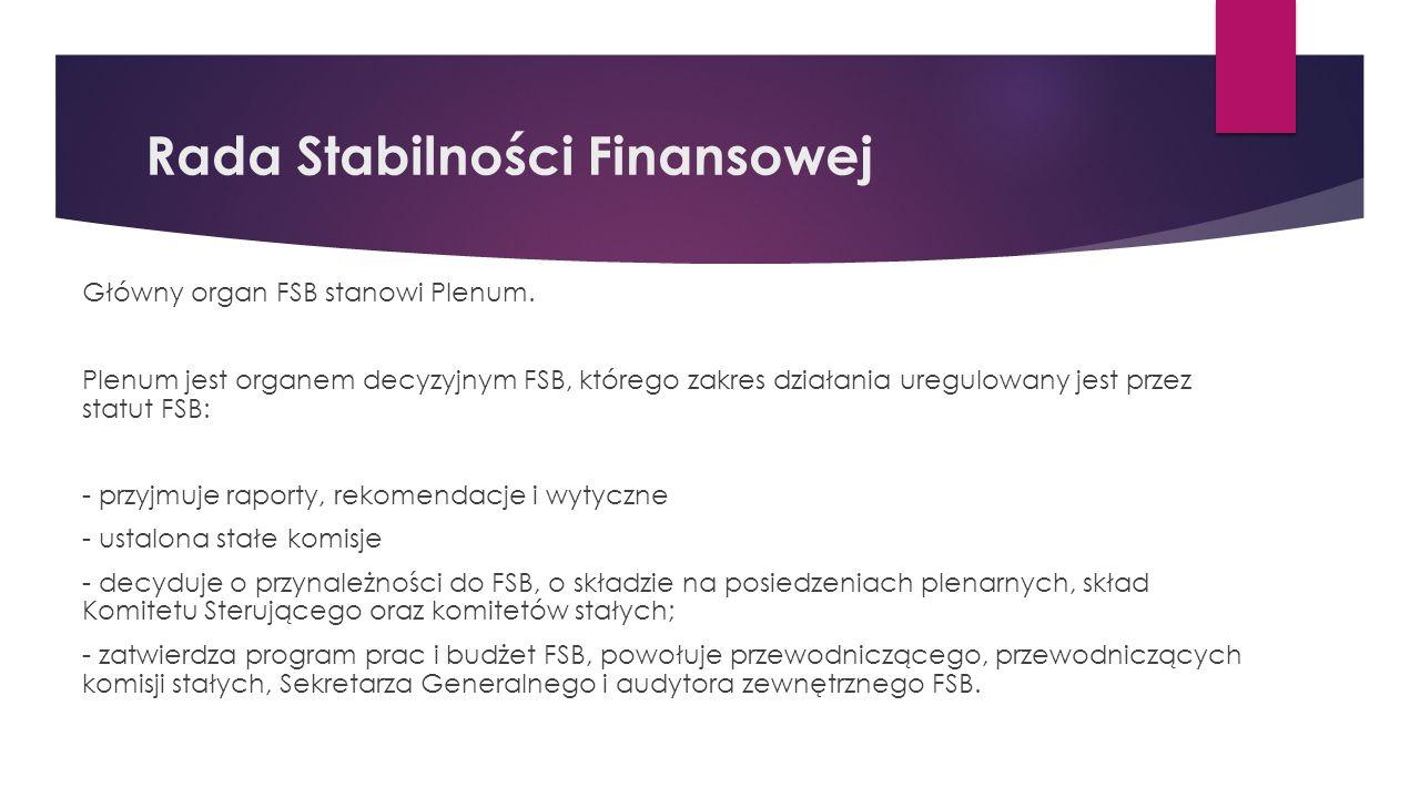 Rada Stabilności Finansowej Główny organ FSB stanowi Plenum.