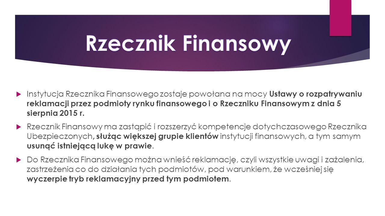  Instytucja Rzecznika Finansowego zostaje powołana na mocy Ustawy o rozpatrywaniu reklamacji przez podmioty rynku finansowego i o Rzeczniku Finansowym z dnia 5 sierpnia 2015 r.