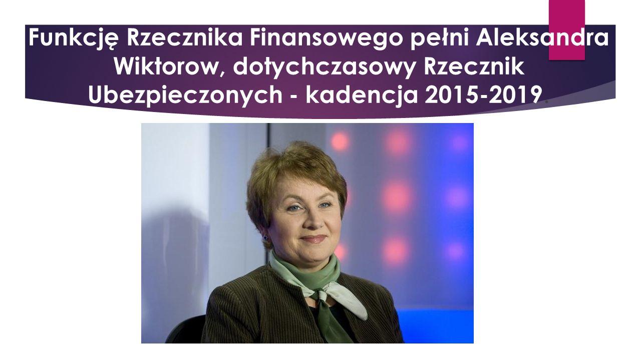 Funkcję Rzecznika Finansowego pełni Aleksandra Wiktorow, dotychczasowy Rzecznik Ubezpieczonych - kadencja 2015-2019.