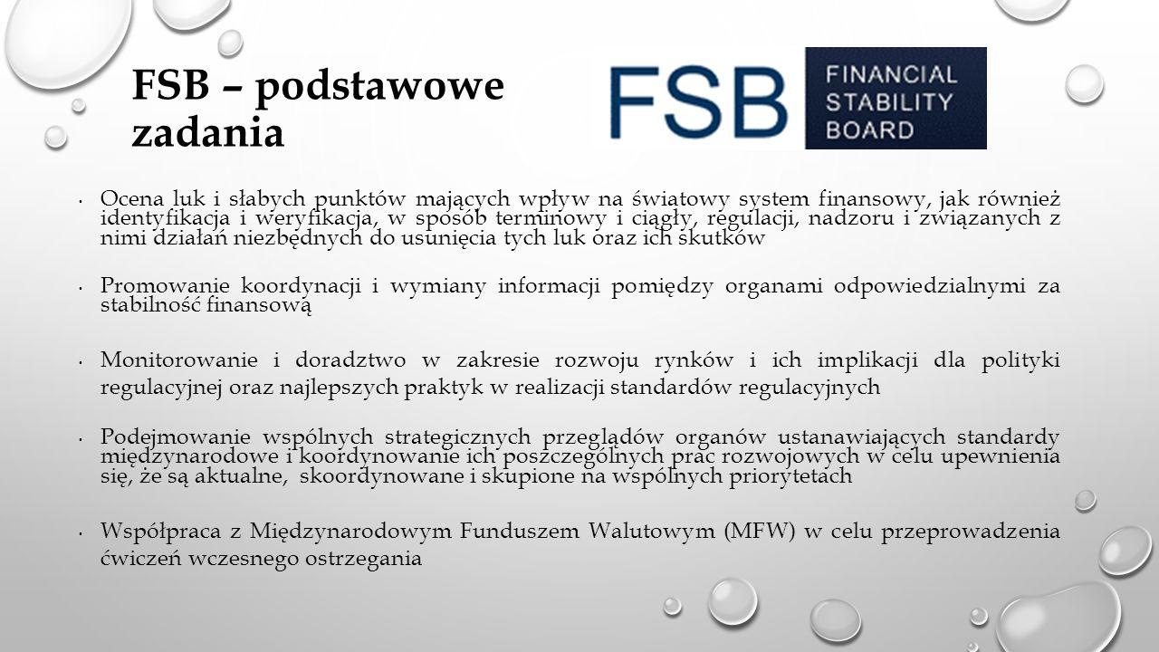 FSB – podstawowe zadania Ocena luk i słabych punktów mających wpływ na światowy system finansowy, jak również identyfikacja i weryfikacja, w sposób terminowy i ciągły, regulacji, nadzoru i związanych z nimi działań niezbędnych do usunięcia tych luk oraz ich skutków Promowanie koordynacji i wymiany informacji pomiędzy organami odpowiedzialnymi za stabilność finansową Monitorowanie i doradztwo w zakresie rozwoju rynków i ich implikacji dla polityki regulacyjnej oraz najlepszych praktyk w realizacji standardów regulacyjnych Podejmowanie wspólnych strategicznych przeglądów organów ustanawiających standardy międzynarodowe i koordynowanie ich poszczególnych prac rozwojowych w celu upewnienia się, że są aktualne, skoordynowane i skupione na wspólnych priorytetach Współpraca z Międzynarodowym Funduszem Walutowym (MFW) w celu przeprowadzenia ćwiczeń wczesnego ostrzegania