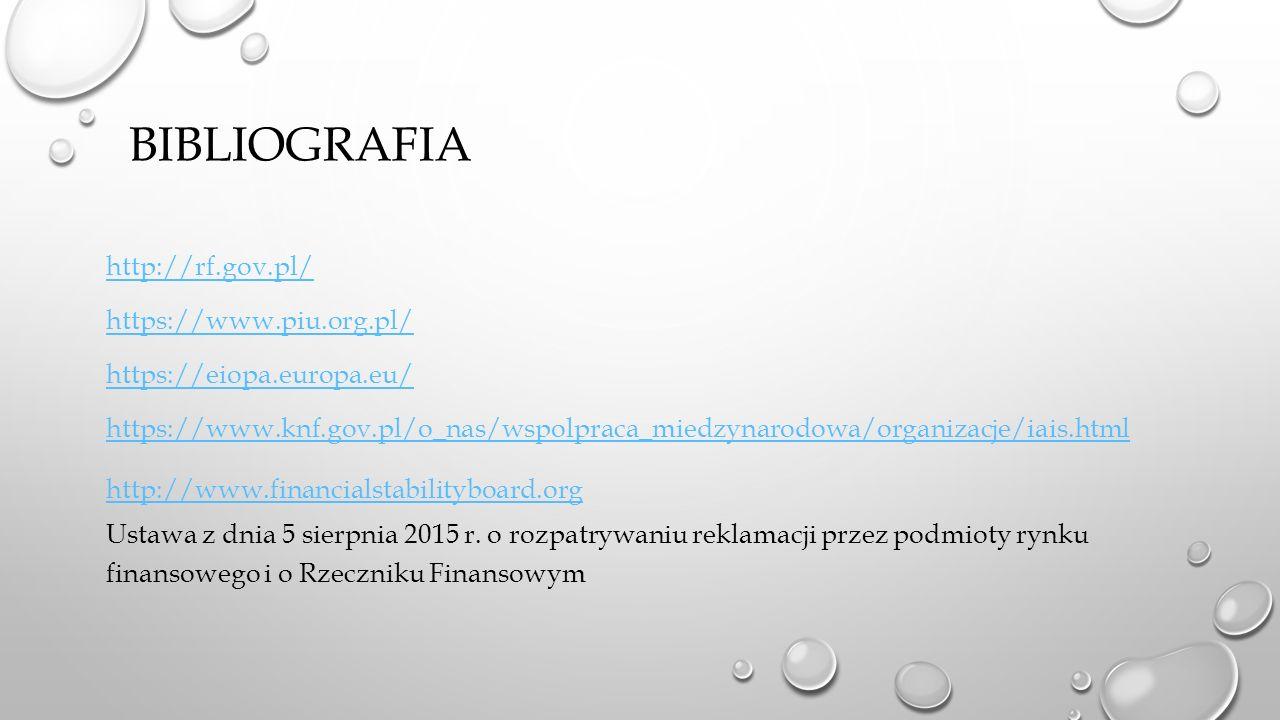 BIBLIOGRAFIA http://rf.gov.pl/ https://www.piu.org.pl/ https://eiopa.europa.eu/ https://www.knf.gov.pl/o_nas/wspolpraca_miedzynarodowa/organizacje/iais.html http://www.financialstabilityboard.org Ustawa z dnia 5 sierpnia 2015 r.