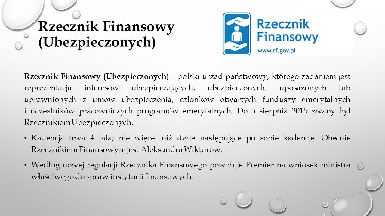 Rzecznik Finansowy (Ubezpieczonych) Rzecznik Finansowy (Ubezpieczonych) – polski urząd państwowy, którego zadaniem jest reprezentacja interesów ubezpieczających, ubezpieczonych, uposażonych lub uprawnionych z umów ubezpieczenia, członków otwartych funduszy emerytalnych i uczestników pracowniczych programów emerytalnych.