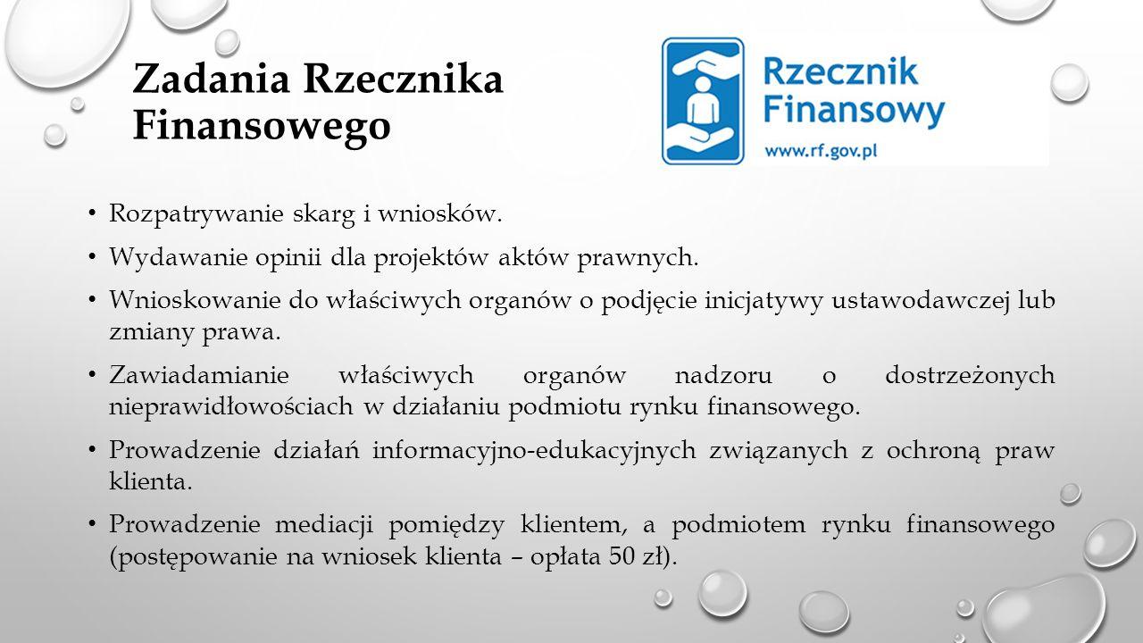 Zadania Rzecznika Finansowego Rozpatrywanie skarg i wniosków. Wydawanie opinii dla projektów aktów prawnych. Wnioskowanie do właściwych organów o podj