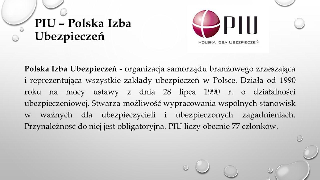 PIU – Polska Izba Ubezpieczeń Polska Izba Ubezpieczeń - organizacja samorządu branżowego zrzeszająca i reprezentująca wszystkie zakłady ubezpieczeń w Polsce.