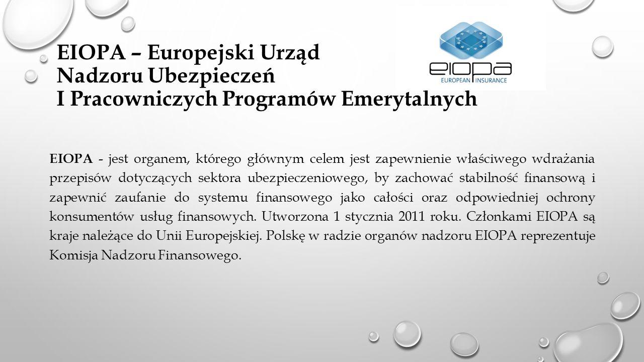 EIOPA – Europejski Urząd Nadzoru Ubezpieczeń I Pracowniczych Programów Emerytalnych EIOPA - jest organem, którego głównym celem jest zapewnienie właśc