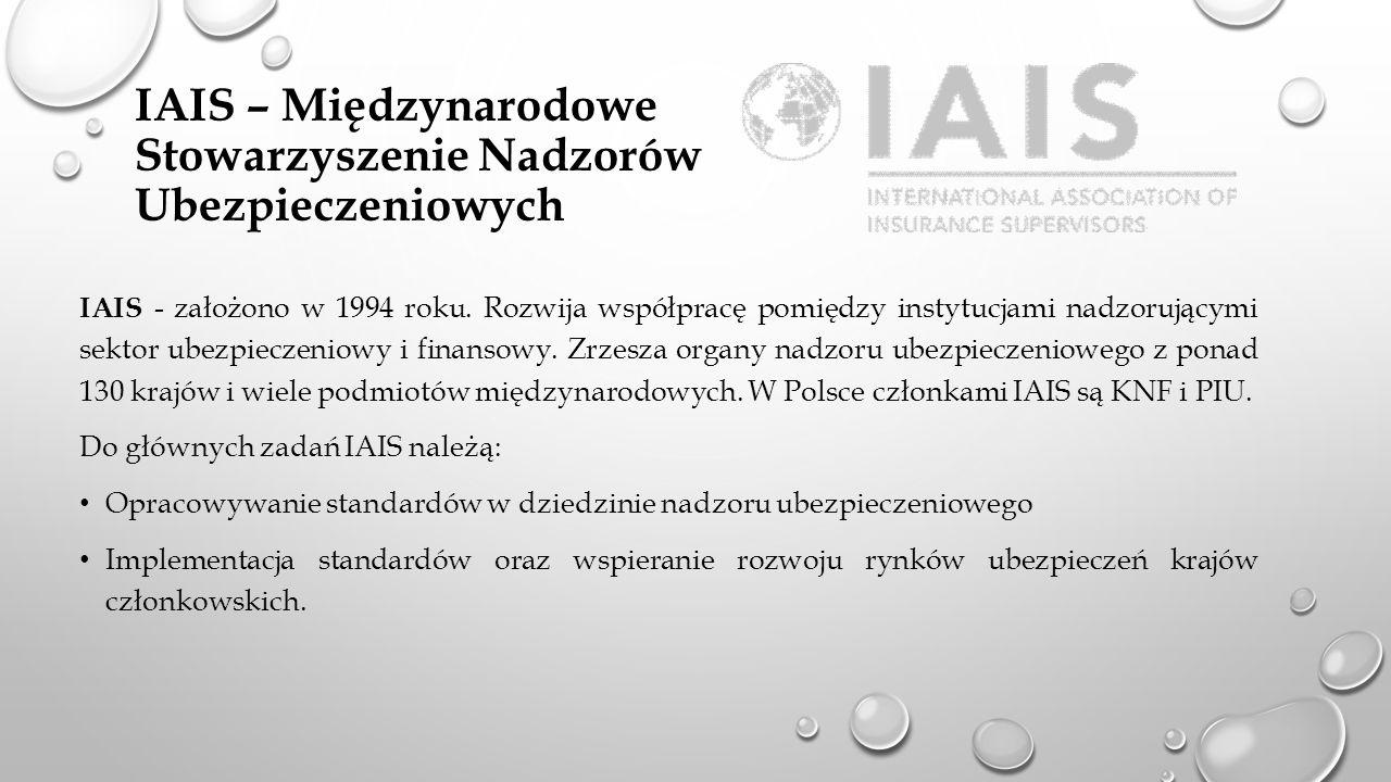 IAIS – Międzynarodowe Stowarzyszenie Nadzorów Ubezpieczeniowych IAIS - założono w 1994 roku. Rozwija współpracę pomiędzy instytucjami nadzorującymi se