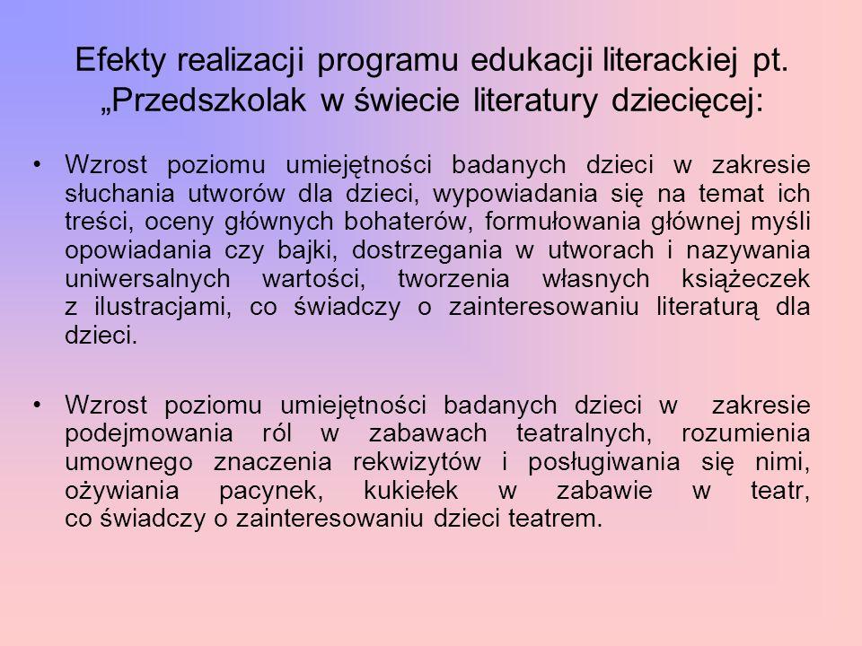"""Efekty realizacji programu edukacji literackiej pt. """"Przedszkolak w świecie literatury dziecięcej: Wzrost poziomu umiejętności badanych dzieci w zakre"""