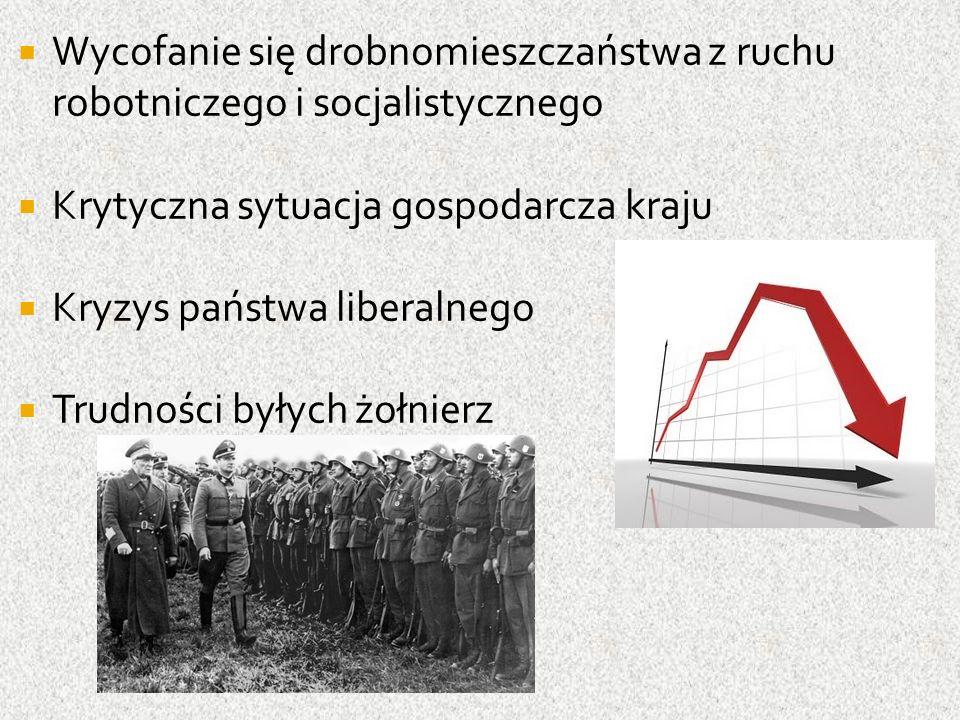  Wycofanie się drobnomieszczaństwa z ruchu robotniczego i socjalistycznego  Krytyczna sytuacja gospodarcza kraju  Kryzys państwa liberalnego  Trudności byłych żołnierz