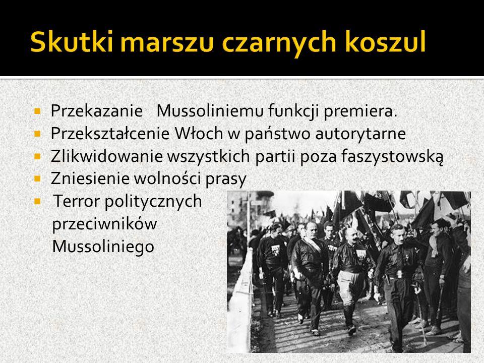  Przekazanie Mussoliniemu funkcji premiera.