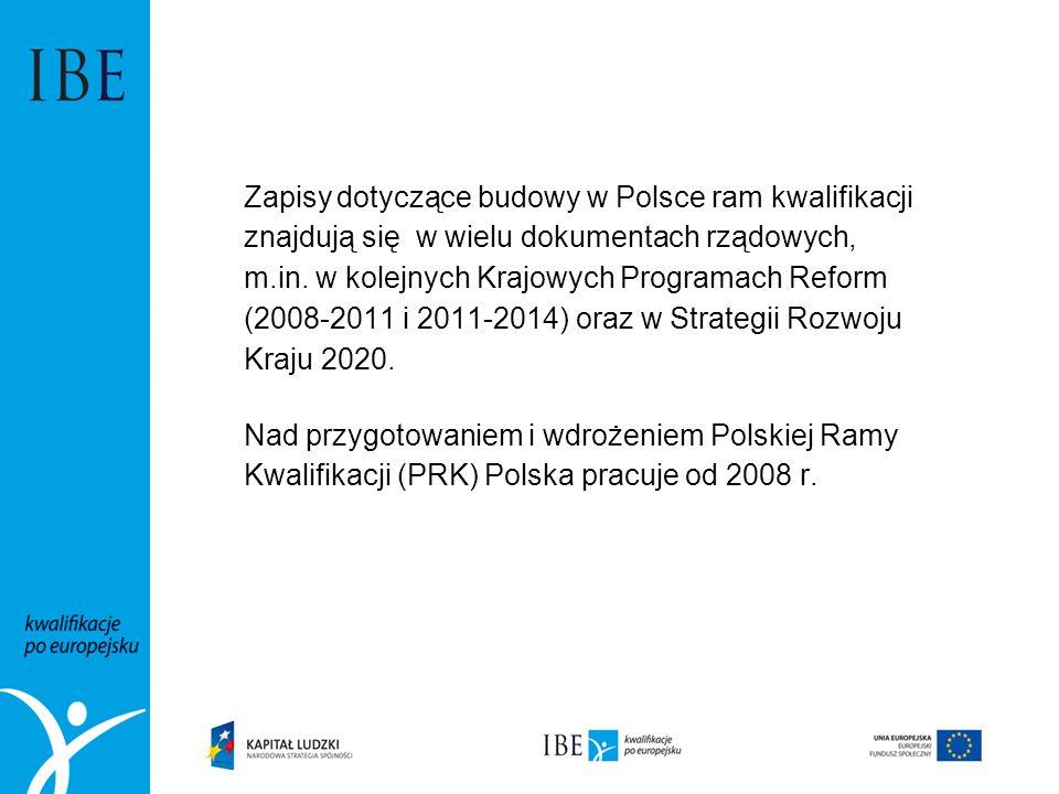Zapisy dotyczące budowy w Polsce ram kwalifikacji znajdują się w wielu dokumentach rządowych, m.in. w kolejnych Krajowych Programach Reform (2008-2011