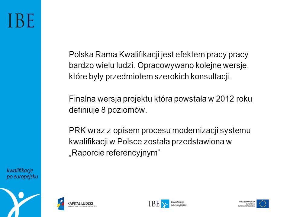 Polska Rama Kwalifikacji jest efektem pracy pracy bardzo wielu ludzi. Opracowywano kolejne wersje, które były przedmiotem szerokich konsultacji. Final
