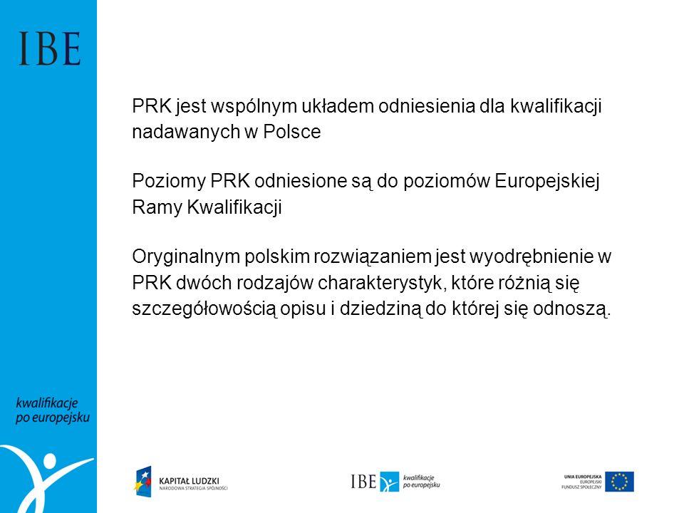 PRK jest wspólnym układem odniesienia dla kwalifikacji nadawanych w Polsce Poziomy PRK odniesione są do poziomów Europejskiej Ramy Kwalifikacji Orygin