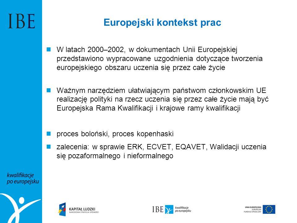 Europejski kontekst prac W latach 2000–2002, w dokumentach Unii Europejskiej przedstawiono wypracowane uzgodnienia dotyczące tworzenia europejskiego obszaru uczenia się przez całe życie Ważnym narzędziem ułatwiającym państwom członkowskim UE realizację polityki na rzecz uczenia się przez całe życie mają być Europejska Rama Kwalifikacji i krajowe ramy kwalifikacji proces boloński, proces kopenhaski zalecenia: w sprawie ERK, ECVET, EQAVET, Walidacji uczenia się pozaformalnego i nieformalnego