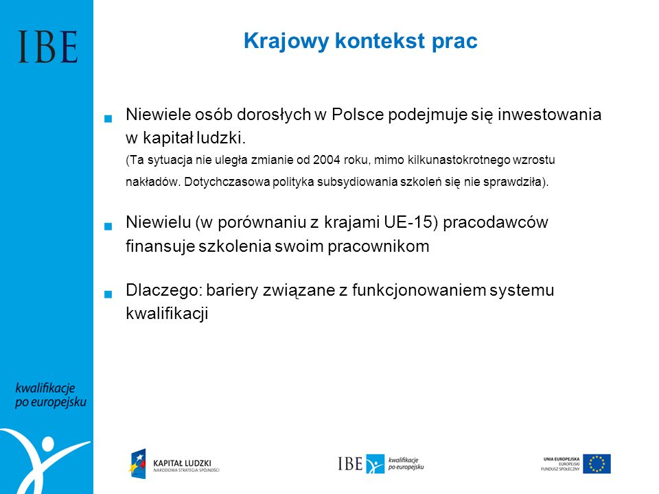 Krajowy kontekst prac  Niewiele osób dorosłych w Polsce podejmuje się inwestowania w kapitał ludzki. (Ta sytuacja nie uległa zmianie od 2004 roku, mi