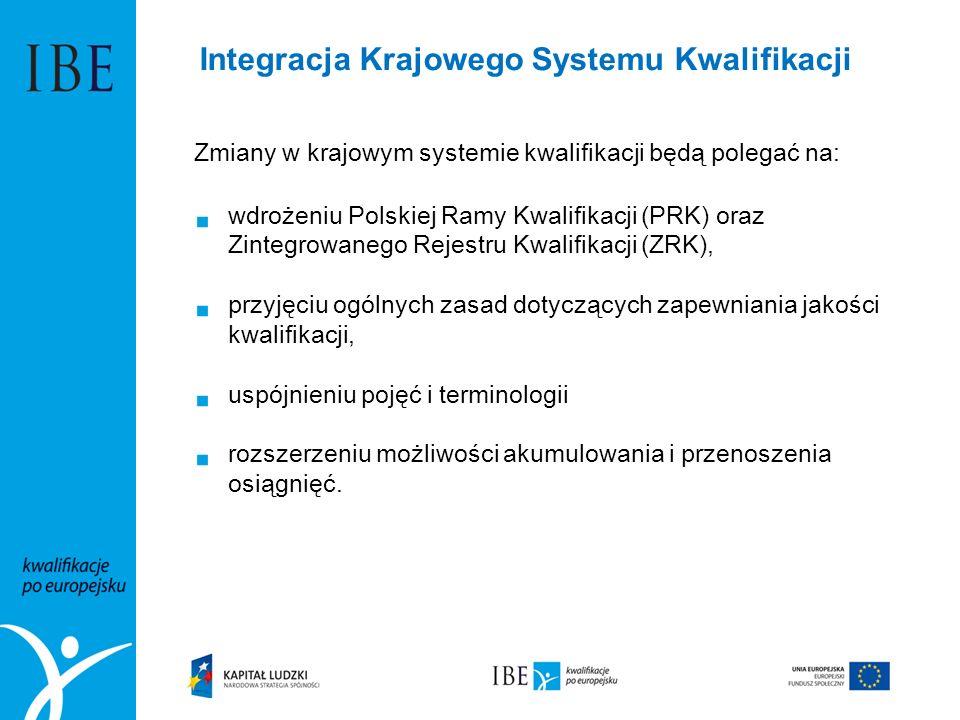 Zmiany w krajowym systemie kwalifikacji będą polegać na:  wdrożeniu Polskiej Ramy Kwalifikacji (PRK) oraz Zintegrowanego Rejestru Kwalifikacji (ZRK),  przyjęciu ogólnych zasad dotyczących zapewniania jakości kwalifikacji,  uspójnieniu pojęć i terminologii  rozszerzeniu możliwości akumulowania i przenoszenia osiągnięć.