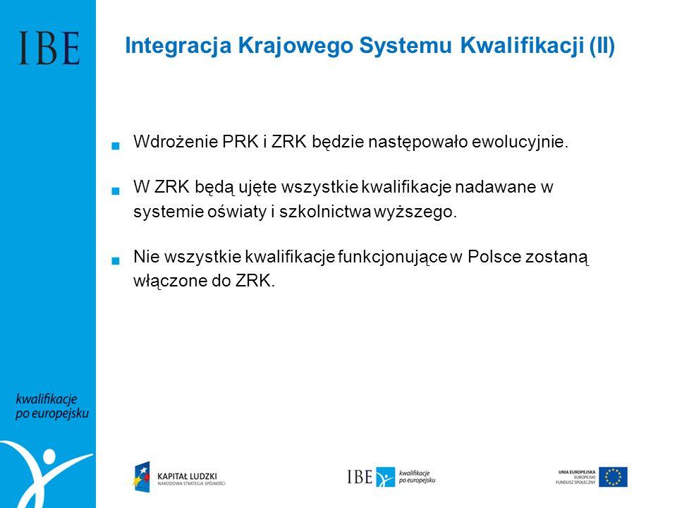  Wdrożenie PRK i ZRK będzie następowało ewolucyjnie.  W ZRK będą ujęte wszystkie kwalifikacje nadawane w systemie oświaty i szkolnictwa wyższego. 