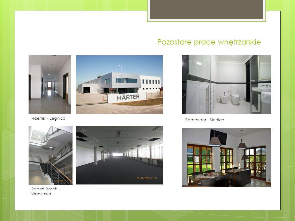 Pozostałe prace wnętrzarskie Haerter - Legnica Robert Bosch - Warszawa Bademoor - Siedlce