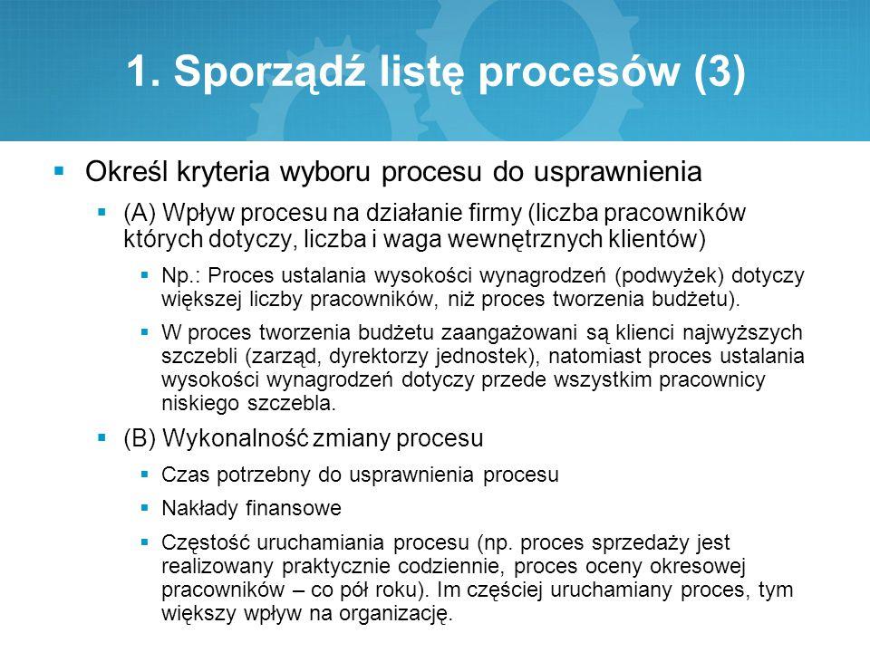 1. Sporządź listę procesów (3)  Określ kryteria wyboru procesu do usprawnienia  (A) Wpływ procesu na działanie firmy (liczba pracowników których dot
