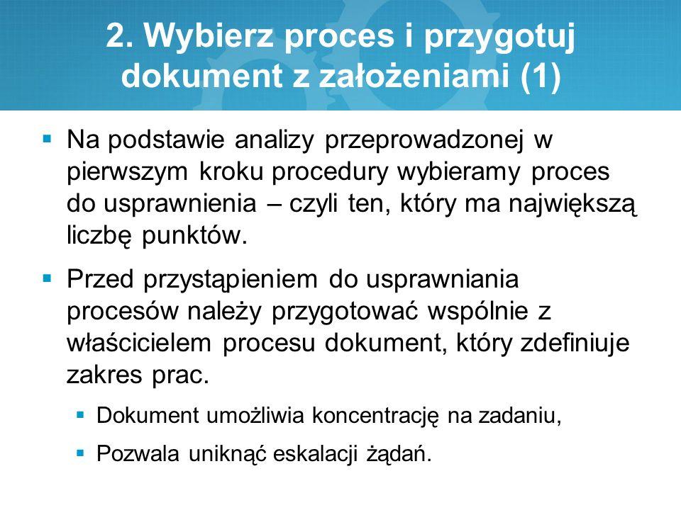 2. Wybierz proces i przygotuj dokument z założeniami (1)  Na podstawie analizy przeprowadzonej w pierwszym kroku procedury wybieramy proces do uspraw