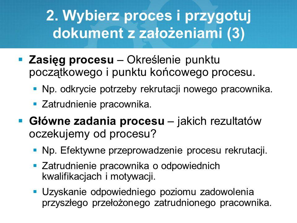 2. Wybierz proces i przygotuj dokument z założeniami (3)  Zasięg procesu – Określenie punktu początkowego i punktu końcowego procesu.  Np. odkrycie