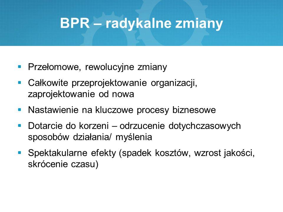 BPR – radykalne zmiany  Przełomowe, rewolucyjne zmiany  Całkowite przeprojektowanie organizacji, zaprojektowanie od nowa  Nastawienie na kluczowe p