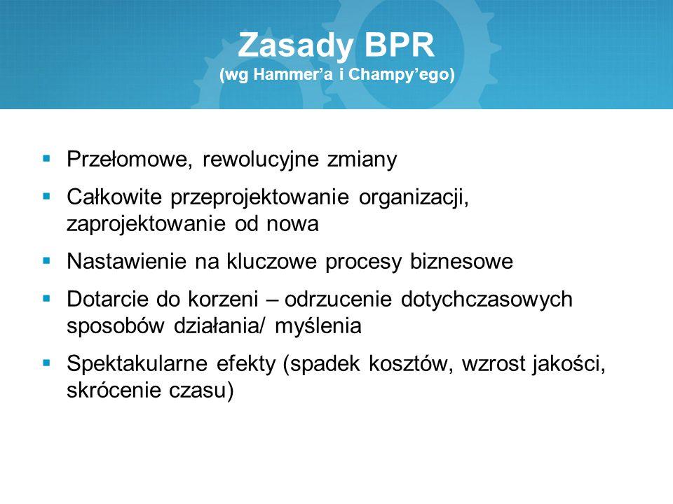 Zasady BPR (wg Hammer'a i Champy'ego)  Przełomowe, rewolucyjne zmiany  Całkowite przeprojektowanie organizacji, zaprojektowanie od nowa  Nastawieni