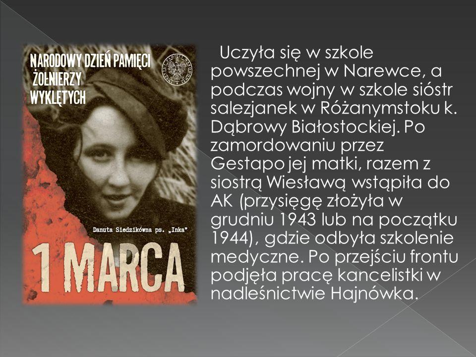 Uczyła się w szkole powszechnej w Narewce, a podczas wojny w szkole sióstr salezjanek w Różanymstoku k. Dąbrowy Białostockiej. Po zamordowaniu przez G