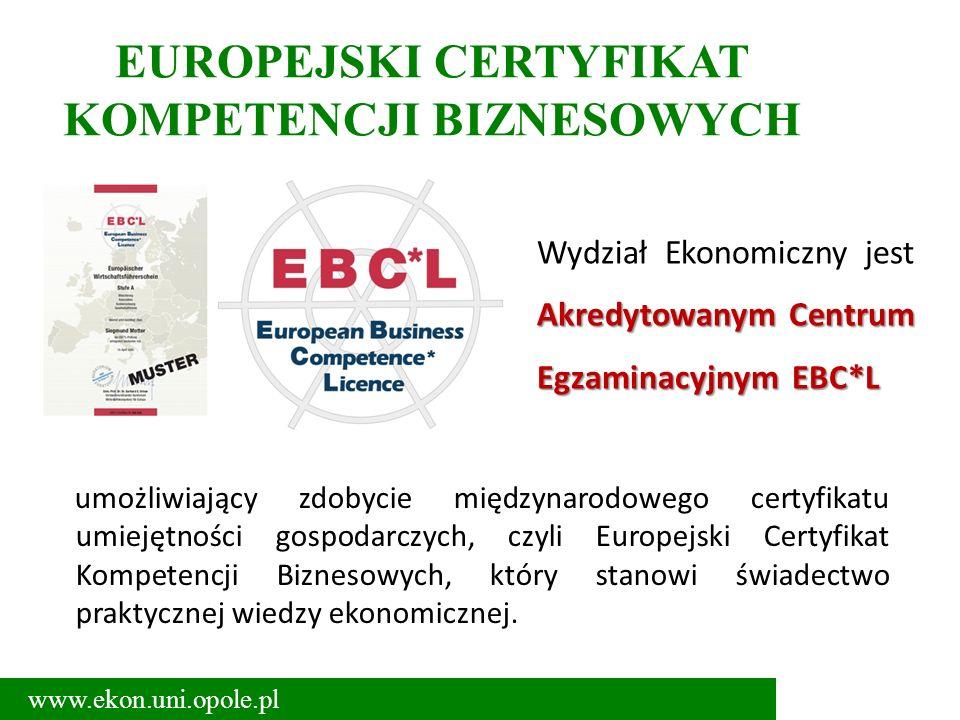 EUROPEJSKI CERTYFIKAT KOMPETENCJI BIZNESOWYCH umożliwiający zdobycie międzynarodowego certyfikatu umiejętności gospodarczych, czyli Europejski Certyfikat Kompetencji Biznesowych, który stanowi świadectwo praktycznej wiedzy ekonomicznej.