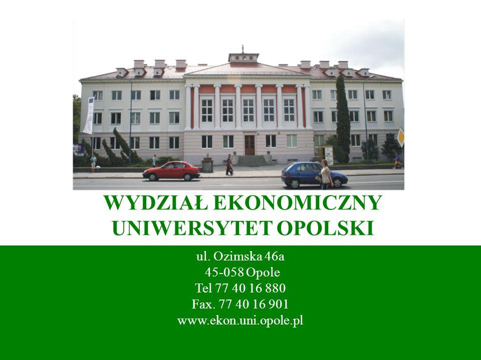 WYDZIAŁ EKONOMICZNY UNIWERSYTET OPOLSKI ul. Ozimska 46a 45-058 Opole Tel 77 40 16 880 Fax. 77 40 16 901 www.ekon.uni.opole.pl