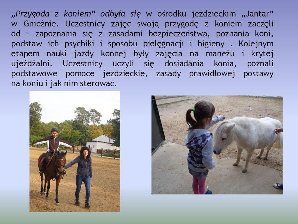 """""""Przygoda z koniem"""" odbyła się w ośrodku jeździeckim """"Jantar"""" w Gnieźnie. Uczestnicy zajęć swoją przygodę z koniem zaczęli od - zapoznania się z zasad"""