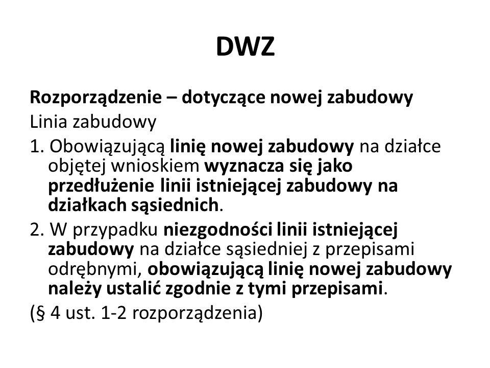 DWZ Rozporządzenie – dotyczące nowej zabudowy Linia zabudowy 1. Obowiązującą linię nowej zabudowy na działce objętej wnioskiem wyznacza się jako przed
