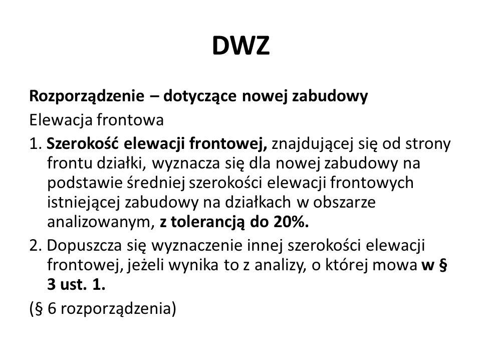 DWZ Rozporządzenie – dotyczące nowej zabudowy Elewacja frontowa 1. Szerokość elewacji frontowej, znajdującej się od strony frontu działki, wyznacza si