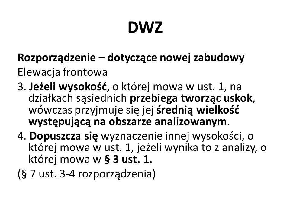 DWZ Rozporządzenie – dotyczące nowej zabudowy Elewacja frontowa 3. Jeżeli wysokość, o której mowa w ust. 1, na działkach sąsiednich przebiega tworząc