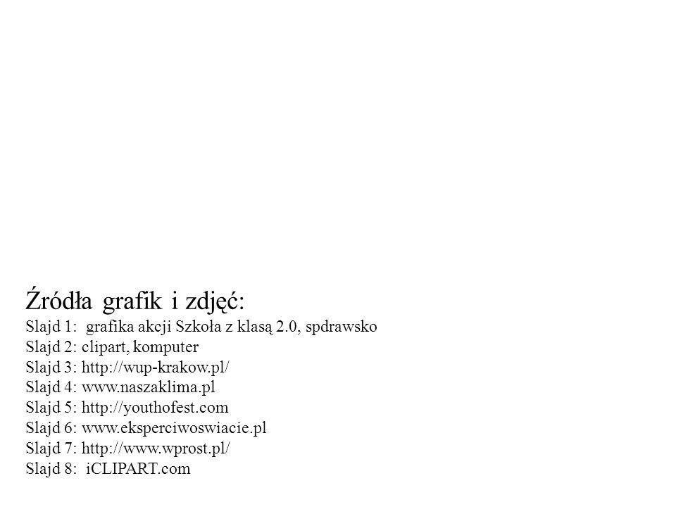 Źródła grafik i zdjęć: Slajd 1: grafika akcji Szkoła z klasą 2.0, spdrawsko Slajd 2: clipart, komputer Slajd 3: http://wup-krakow.pl/ Slajd 4: www.nas