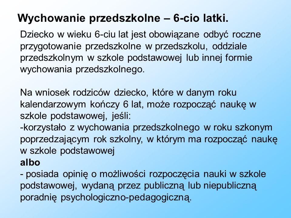 Wychowanie przedszkolne – 3, 4, 5-cio latki.Od 1 września 2016 r.